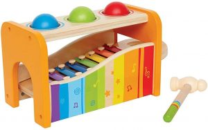 A colorful toy xylophone.